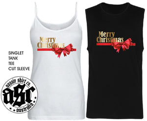 Womens Christmas  Shirt - GOLD BOW Merry Christmas - Singlet, Tank or Cut Sleeve - aussie-shirt-co