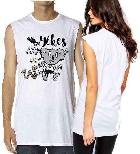 T-Shirt Tank or Cut Sleeve - Koala Yikes Print - ASC T-Shirts - aussie-shirt-co