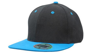 KIDS Newport Youth Size Black/Blue Premium American Twill Cap with Snap Back - aussie-shirt-co