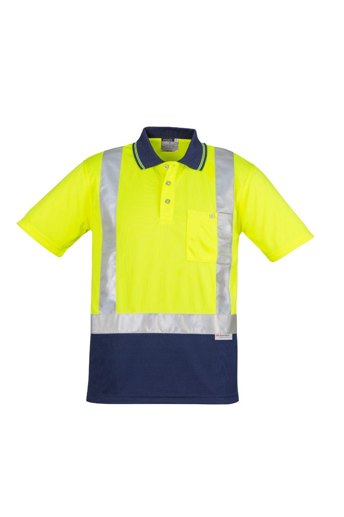 SYZMIK ZH233 - Mens Hi Vis Spliced Polo - Short Sleeve Shoulder Taped T-Shirt Printing Australia