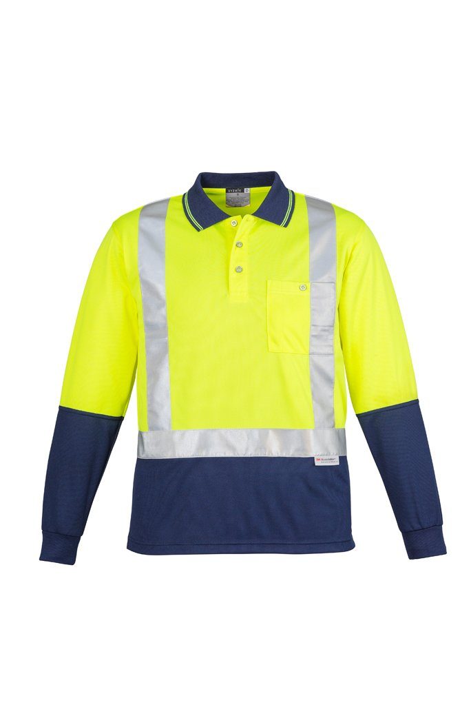 SYZMIK ZH234 - Mens Hi Vis Spliced Polo - Long Sleeve Shoulder Taped T-Shirt Printing Australia