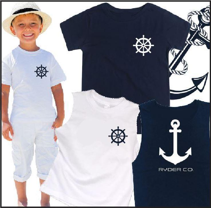 Tee - Navy Anchor Tee - aussie-shirt-co