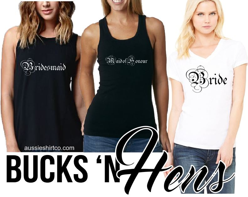 Bucks N Hens - Parchment Script Bride - Cut Sleeve  T-Shirt Singlet or Tank - aussie-shirt-co