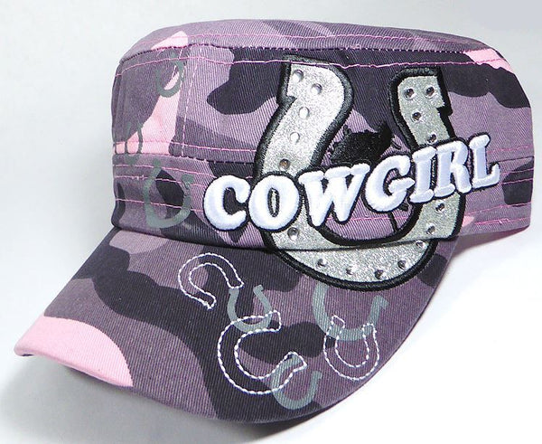 Rhinestone Cowgirl Bling Cadet Caps - Pink Camo - aussie-shirt-co