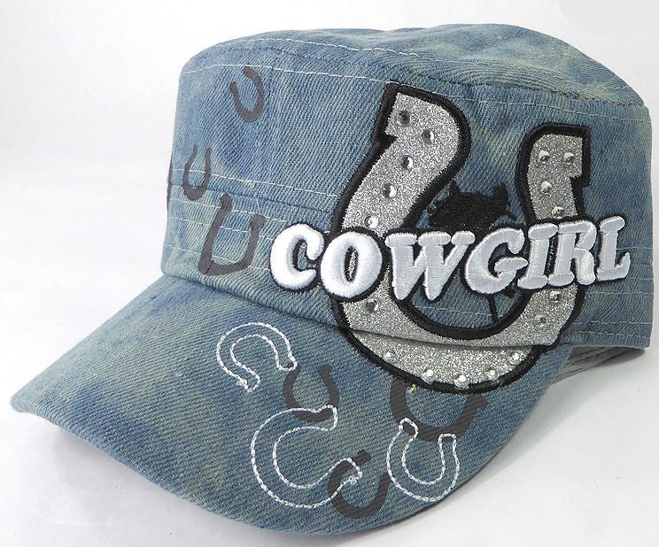 Rhinestone Cowgirl Bling Cadet Hats - Light Splash Denim - aussie-shirt-co