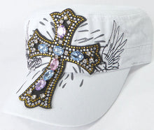 Load image into Gallery viewer, Rhinestone Women's Cadet Hats - Angelic Cross - White - aussie-shirt-co