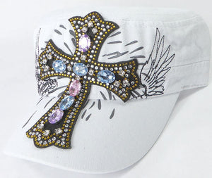 Rhinestone Women's Cadet Hats - Angelic Cross - White - aussie-shirt-co