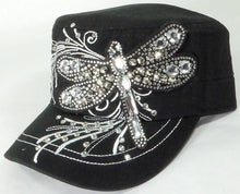 Load image into Gallery viewer, Rhinestone Cadet Cap - Dragonfly - Black - aussie-shirt-co