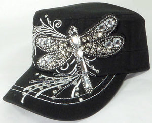 Rhinestone Cadet Cap - Dragonfly - Black - aussie-shirt-co