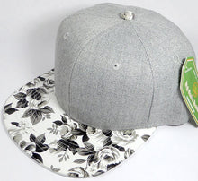 Load image into Gallery viewer, Light Grey Denim Snapback Caps - White Rose - aussie-shirt-co