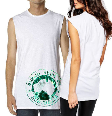 T-Shirt Tank or Cut Sleeve - Tie Dye Green Logo  - ASC T-Shirts - aussie-shirt-co