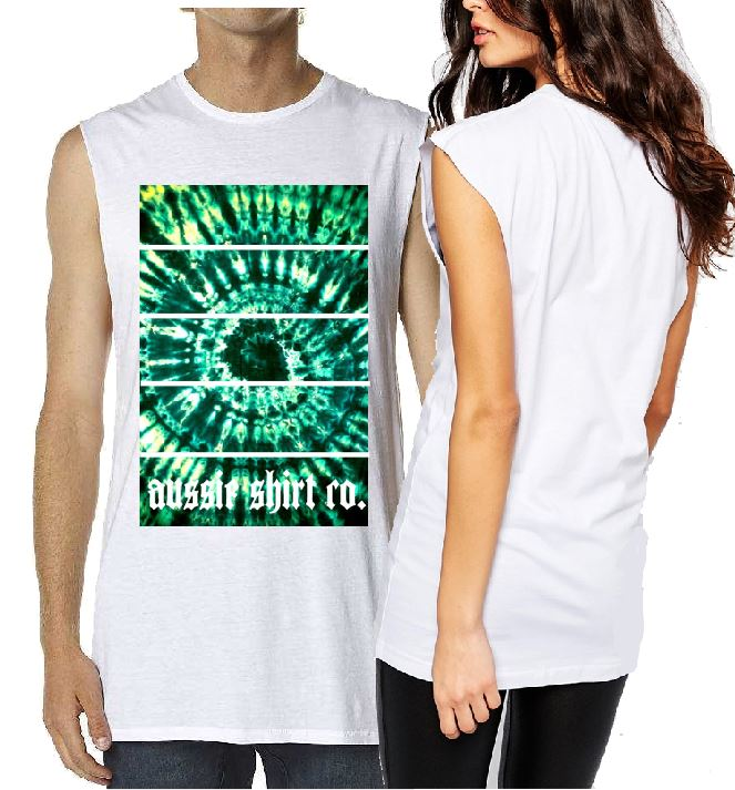 T-Shirt Tank or Cut Sleeve -  Tie Dye Green Line - ASC T-Shirts - aussie-shirt-co