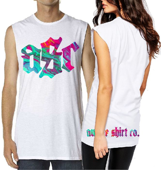 T-Shirt Tank or Cut Sleeve - ASC Tie Dye Multi Color  - ASC T-Shirts - aussie-shirt-co