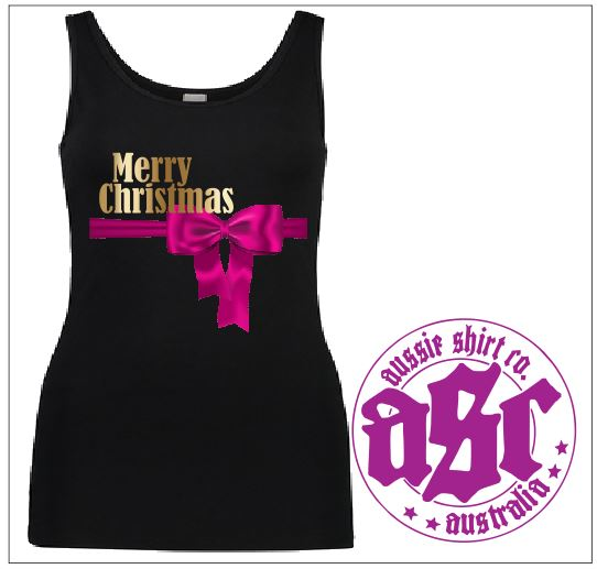 Womens Shirt - PINK BOW XMAS - Tank - aussie-shirt-co