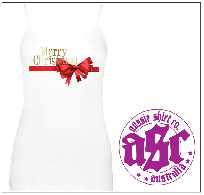 Womens Merry Christmas Singlet with Red Bow - aussie-shirt-co
