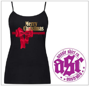 RED BOW XMAS LADIES SINGLET - aussie-shirt-co