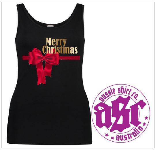 RED BOW XMAS LADIES TANK - aussie-shirt-co