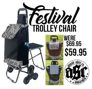 Festival/Shopping Trolley Bag w/Foldable Stool or Table - aussie-shirt-co