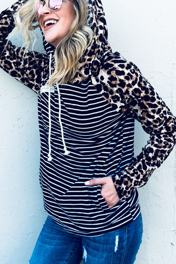 Stripes and Leopard Hoodie