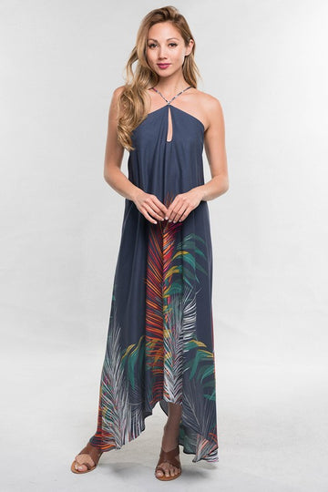 Casual to Dressy Maxi A gorgeous navy and palm leaf printed maxi that you can dress up or wear casually with just a switch of shoes. Rayon Crepe. Model is approx 5'8
