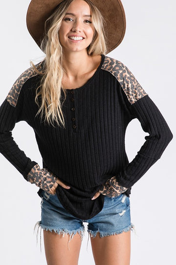 Black and Leopard Mixed Print Ribbed Top