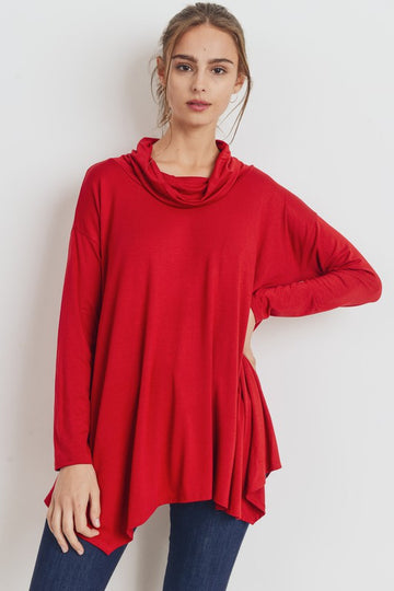 Cowl Neck Asym Red Top