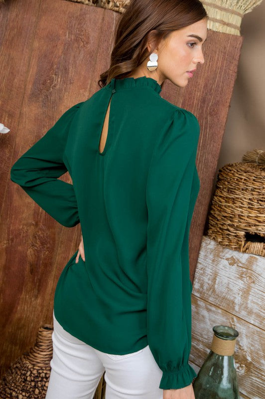 Hunter Green Ruffle Neck Top