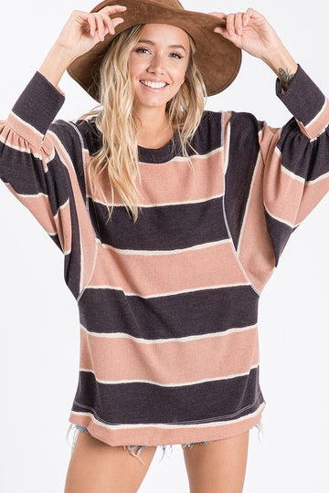 Striped Boxy Balloon Sleeve Top