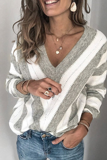 Gray and Cream V Neck Sweater