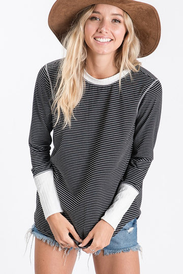 Jersey Stripe Black and White Top