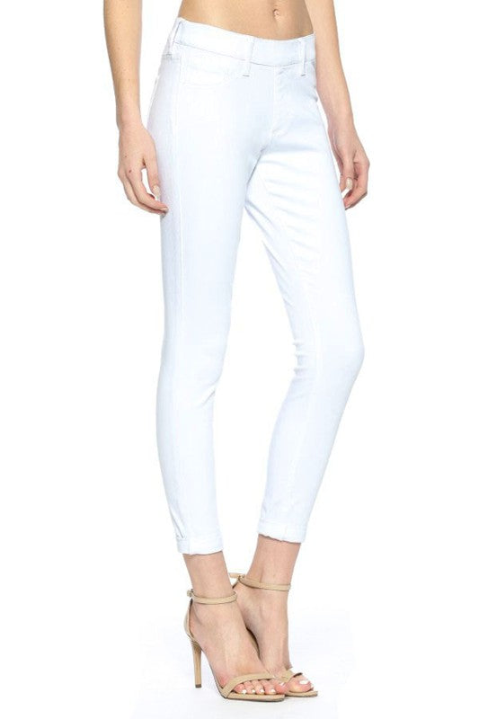 Mid Rise Crop White Jeggings