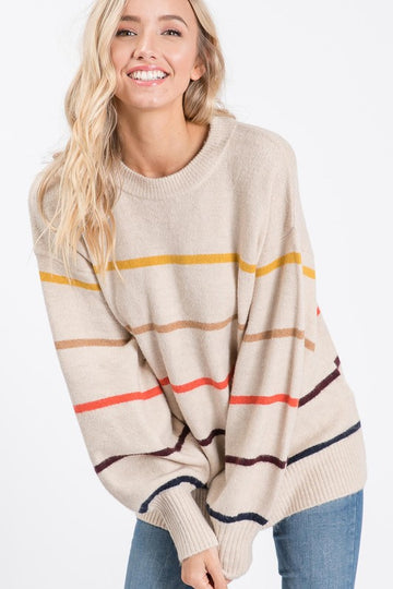 Taupe Multi Color Stripe Sweater