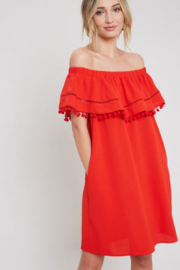 Off Shoulder Pom Pom Dress that WOWS! Turn heads at your Summer celebrations in this gorgeous scarlet pom pom dress with off shoulder details and easy fit. Poly/Span/ Model is 5'9