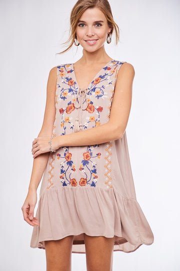 Malibu Embroidered Taupe Dress