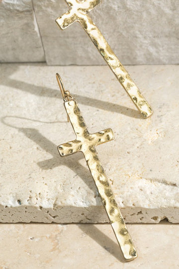 Cool Hammer Details These beautiful hammered cross earrings are a stunning addition to your everyday style. Gold and Silver available.   Approx 2.5