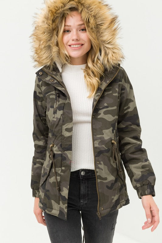 Camo Lined Faux Hoodie Jacket