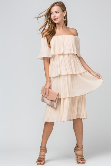 Natural Pleated Tiered Dress