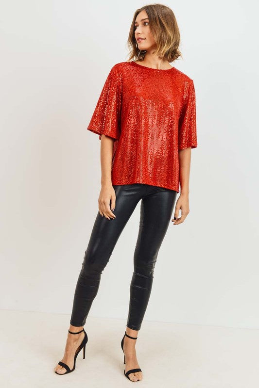 Sequin Short Bell Sleeve Top