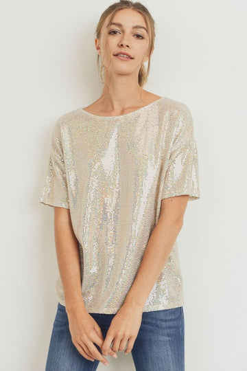 Labor Day Special! Prepare for those soon to come festive evenings out and pair this pretty sequin top with your jeans, pleather leggings or pants! Relaxed fit. Nylon/Metallic/Span Model is 5'9