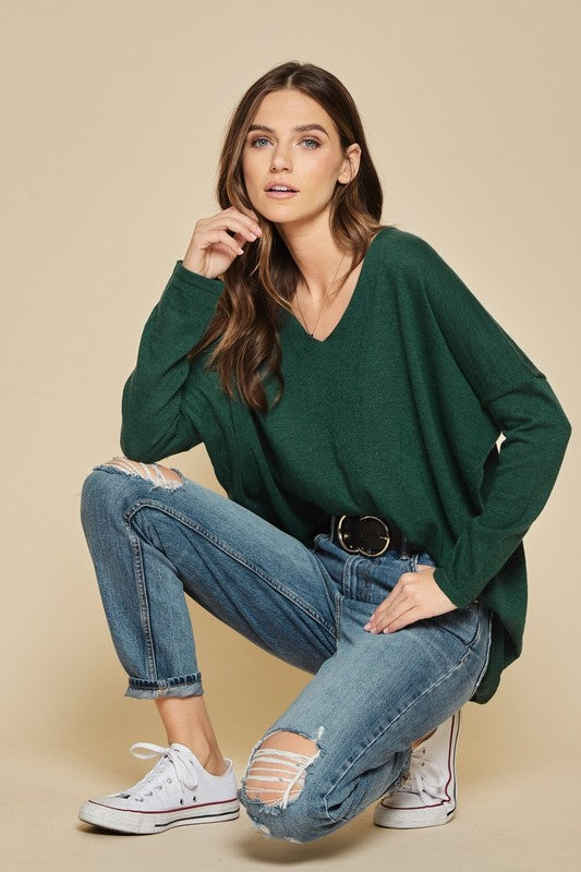 V-Neck Hunter Green Pullover