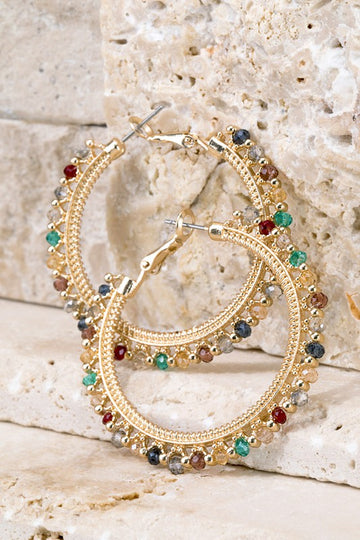 Metal and Multi Stone Hoop Earrings