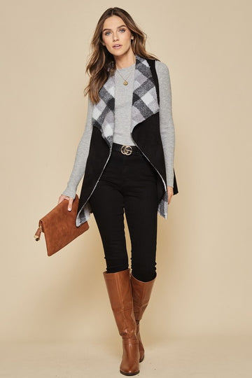 Plaid Suede and Sherling Vest