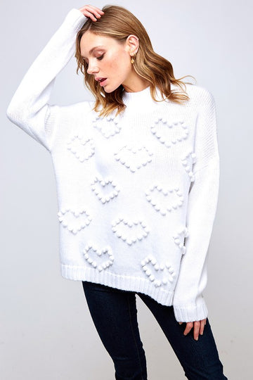 Heart Pom White Sweater