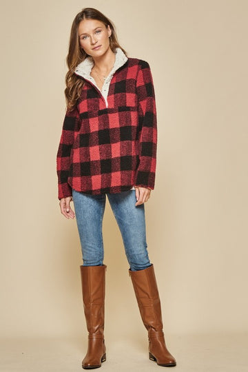 Red Plaid Sherpa Pullover