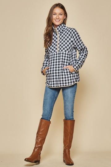 Navy Plaid Half Zip Pullover