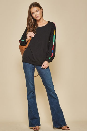 Embroidered Detail Sleeve Black Pullover