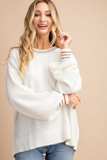 Rainbow Band Cloud White Pullover