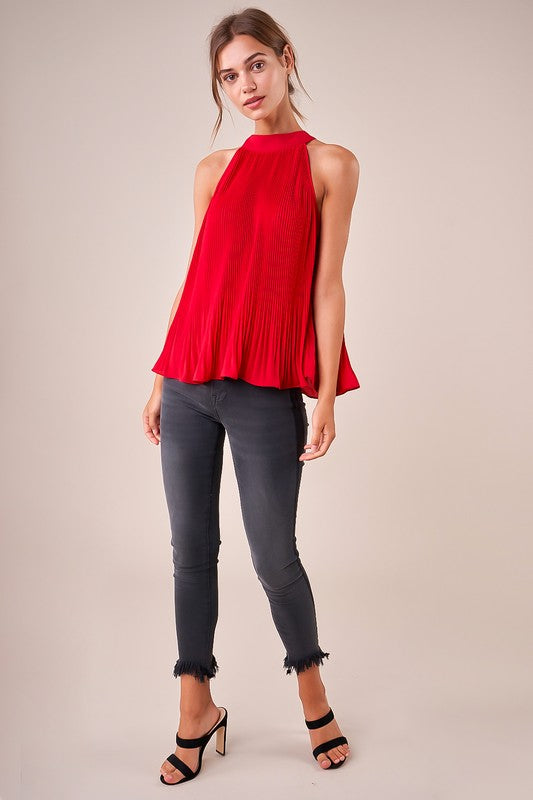 Red Pleated Halter Top