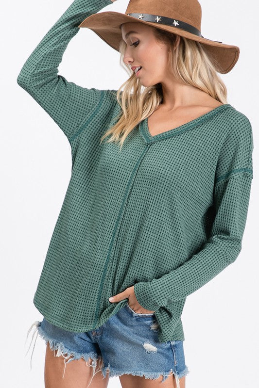 Green Waffle Contrast Top