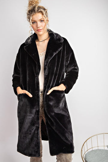 On To Midnight Faux Fur Coat